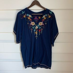 (NWOT) Johnny Was / Navy Embroidered Tunic